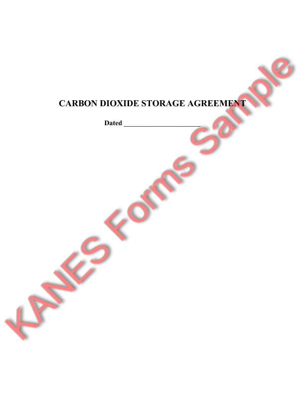 Carbon Dioxide Storage Agreement And Secondary Recovery Unit
