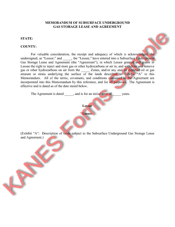 Gas Storage Sample Forms and Master Index – Memorandum of Lease Agreement
