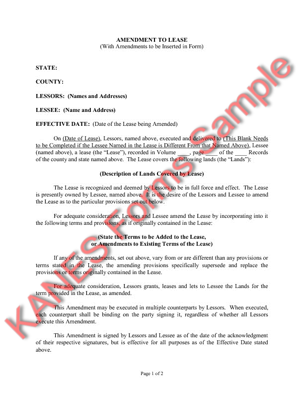 Amendment to Lease (With