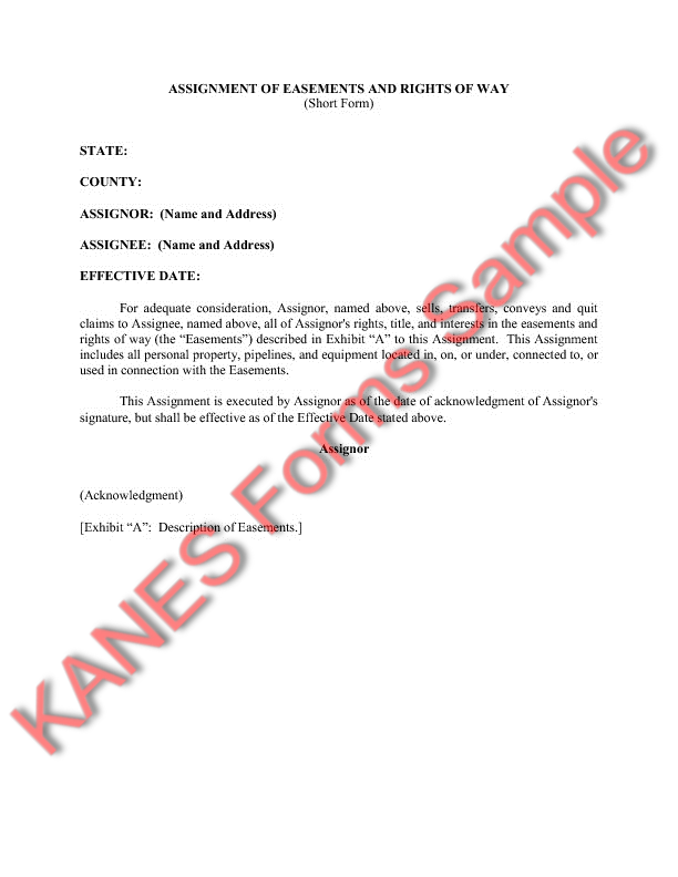 Gas Storage Sample Forms and Master Index – Assignment Agreement Template