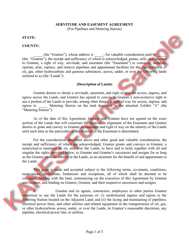 Easement Agreement (For