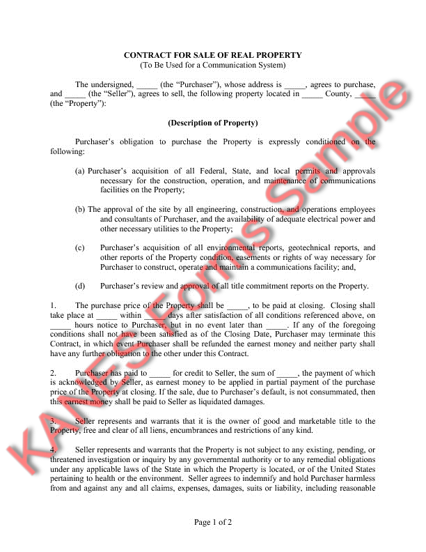 ... Contract For Sale Of Real Property (To Be Used For A Communication  Facility)