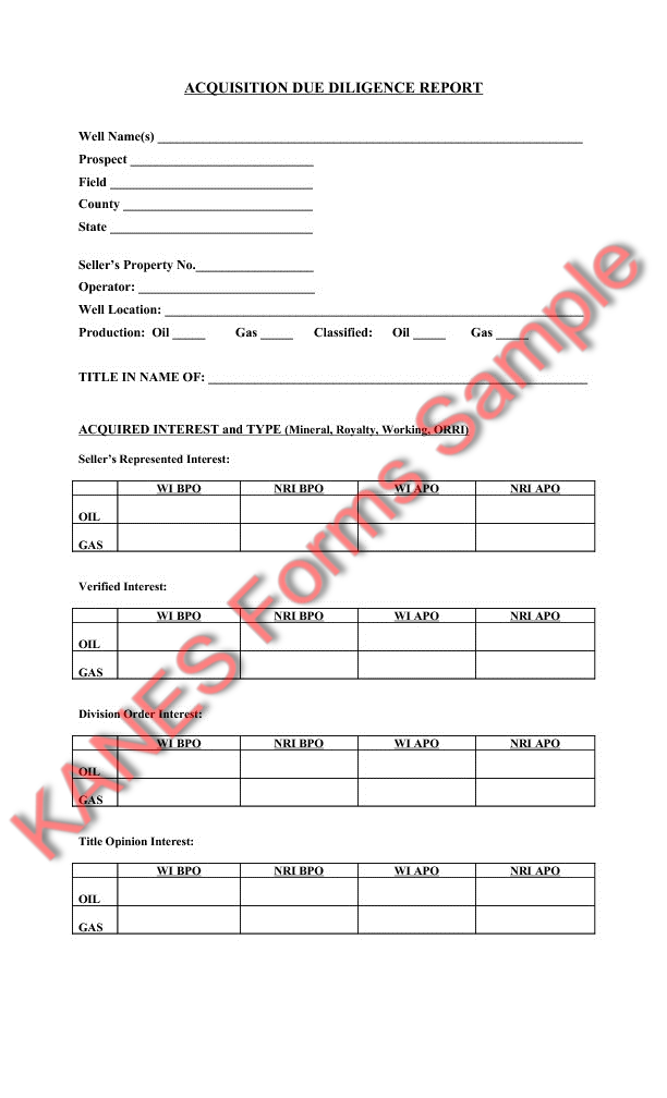 due diligence sample forms and master index
